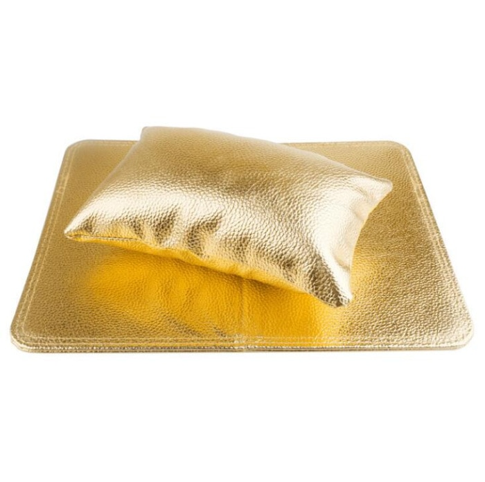 1 Juego de almohada de mano para decoración de uñas con alfombrilla plegable de color dorado, de descanso para mano suave cojín, herramientas de manicura