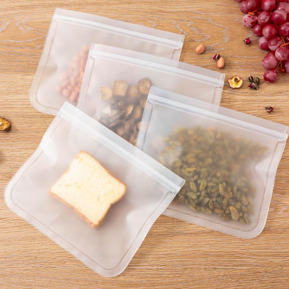 Bolsa de almacenamiento de alimentos de silicona a prueba de fugas contenedores reutilizables bolsa de sellado fresco Almacenamiento de cocina congelador bolsa de almacenamiento de alimentos