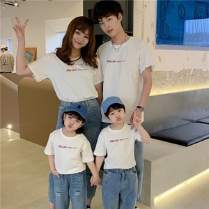 Family Matching Outfits Parent-Child 2021 Summer Cotton White Yellow T-Shirt Mom Dad and Baby's' Clothes