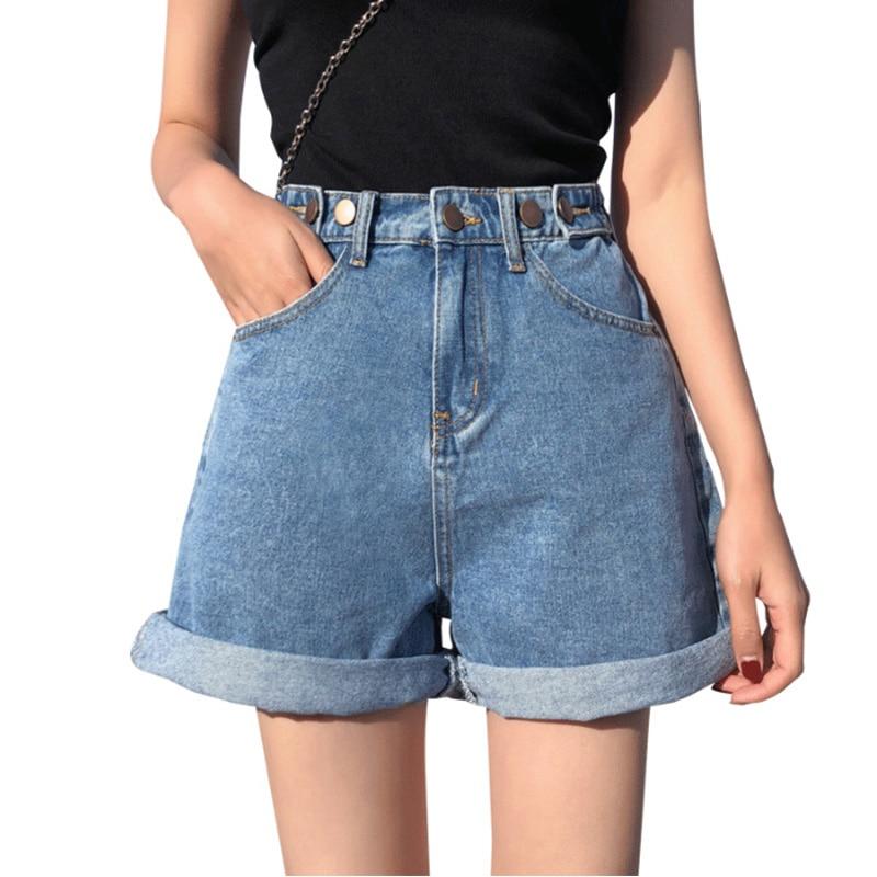 2020 Womens Denim Shorts Classic Vintage Black Women shorts High Waist shorts women Female Casual blue jean shorts women summer