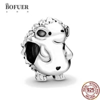 bofuer 925 sterling silver little hedgehog charms animal beads fit original bracelet making fashion diy jewelry for women 036b