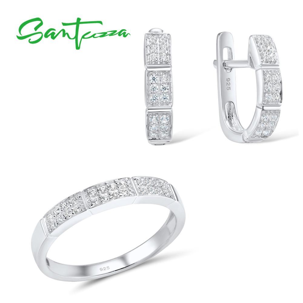 Santuzza conjuntos de jóias para as mulheres puro 925 prata esterlina brilhante branco zircônia cúbica anel brincos conjunto moda jóias finas