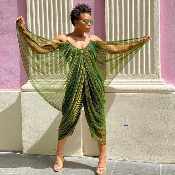 Forbidden Garden Draped Jumpsuit Shiny Green Spaghetti Strap Jumpsuits Elegant Party Clothes New Design Plus Size Open Back