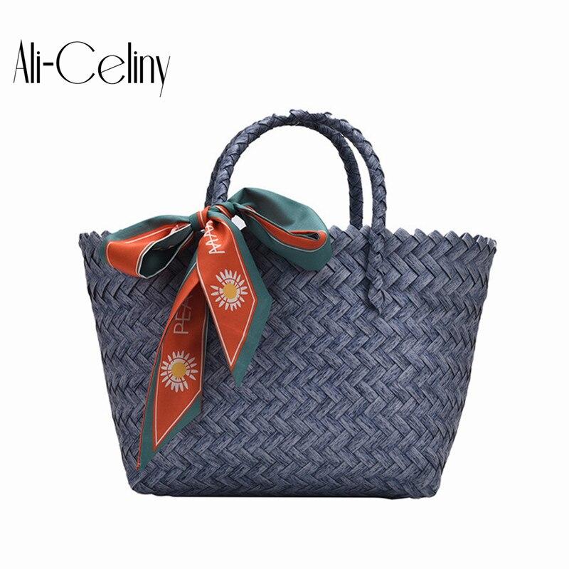 Bolso de mujer, bolso de gran capacidad, bufanda tejida a la moda para mujer, bolso de ocio para playa, vacaciones, bolso de cesta de verduras