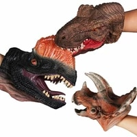 animal head hand puppet figure toys dinosaur head gloves soft natural latex rubber animal hand puppet set for kids role play