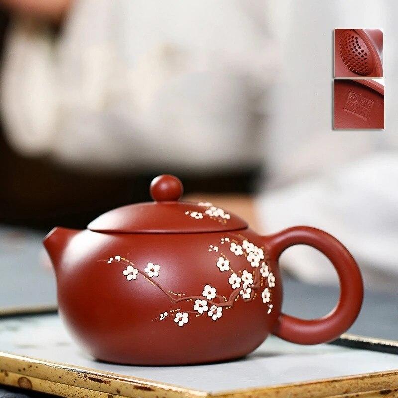 Yixing-إبريق شاي صيني مصنوع يدويًا ، 240 مللي ، زهر البرقوق ، وعاء Xi Shi ، طقم شاي من الطين الأرجواني ، غلاية ، طقم شاي للسفر ، فلتر ثقب كروي ، 188