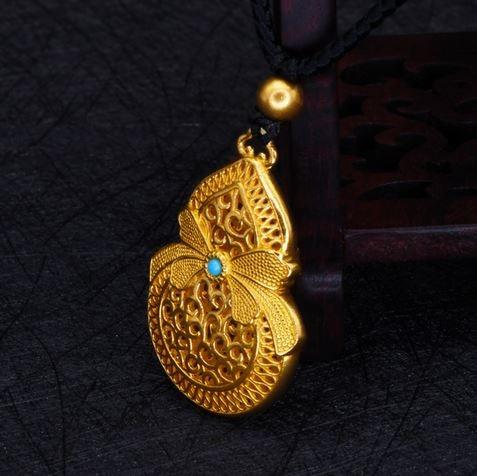 Laos latón oro Color dorado, plateado arco calabaza seguro hebilla heredar antiguo Faraón colgante de oro collar de moda de mujer