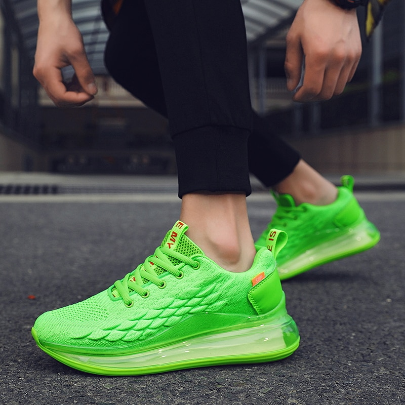 أحذية رياضية رجالية خفيفة الوزن ، أحذية رياضية مريحة مع وسادة هوائية ، النسخة الكورية