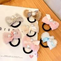 misananryne sweet girl hair accessories plush bow hair rope elastic hairbands ponytail holder hair tie
