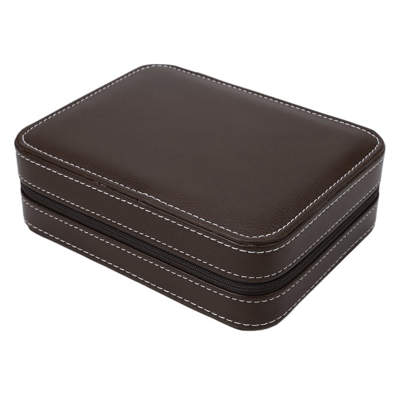 4 Slots Carbon Fibre Watch Box Bag Display Zipper Case Display Storage Portable Travel Holder Case Portable Leather Organizer &