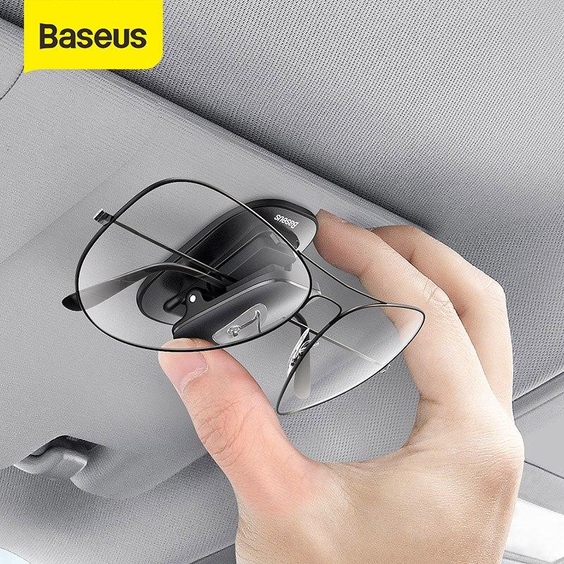 Baseus óculos de carro caso auto óculos de sol viseira titular óculos de sol clipe cartão titular caneta caso clipe caixa acessórios universais