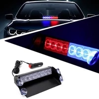 12v 8 led red blue yellow white car strobe warning light firemen police led flashing emergency signal lights safety fog lamp