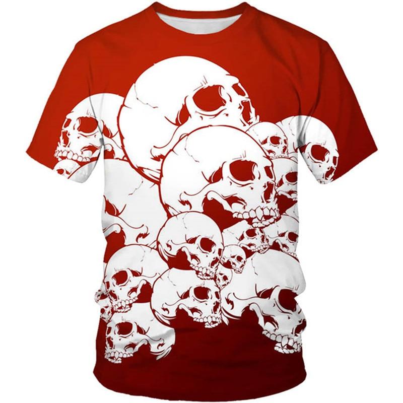 Camiseta divertida con flor y cráneo 3d para niños, camisetas de manga...