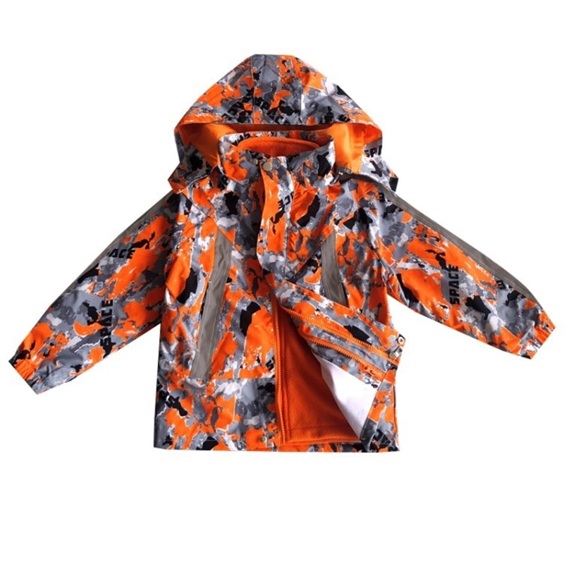 Boy's jacket children's three-in-one removable reflective coat for middle and older boys autumn and winter fleece windcheater enlarge