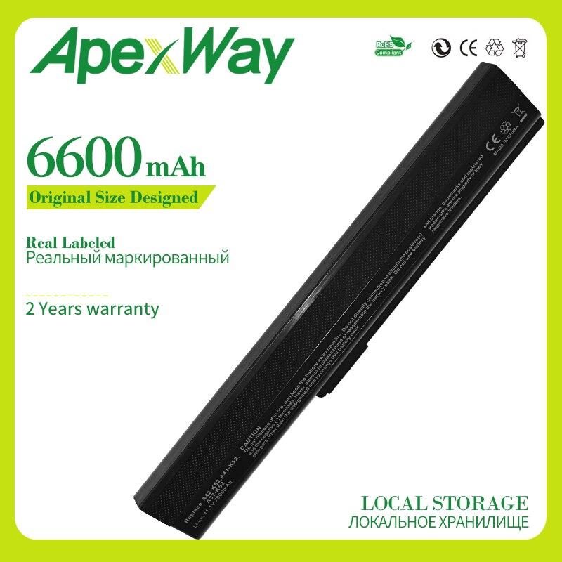 Apexway 6600mAh 9 خلايا بطارية كمبيوتر محمول جديد ل Asus a52j a32-k52 k52j k52 a52 k42 سلسلة 70-NXM1B2200Z A31-K52 A41-K52 A42-K52