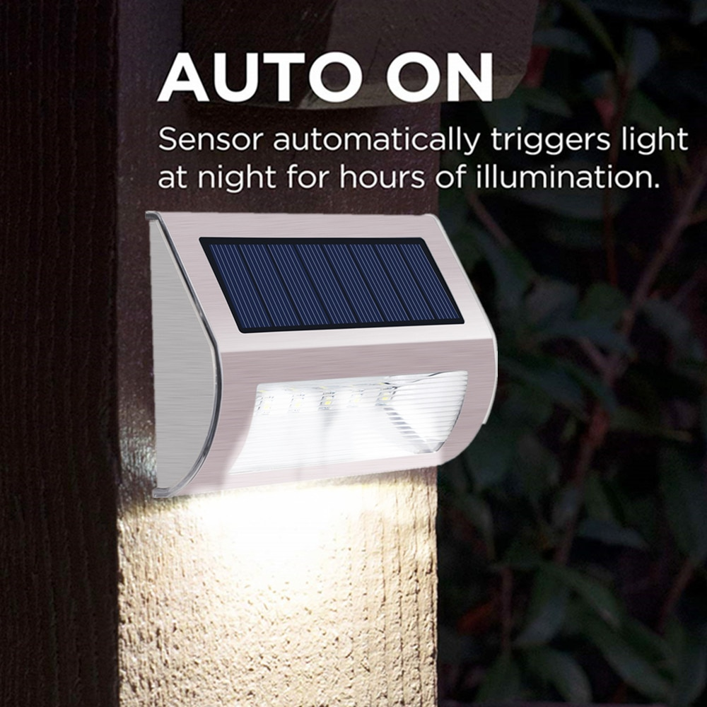 Outdoor LED Solar Light Waterproof Garden Solar Wall Lamp Solar Powered Lighting for Porch Patio Fence Yard Balcony Stair Step