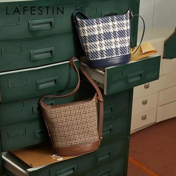 LA FESTIN Bags for Women Trend 2021 New Niche Design Underarm Bucket Fashion All-match Single Shoulder Retro Plaid Crossbody Bag