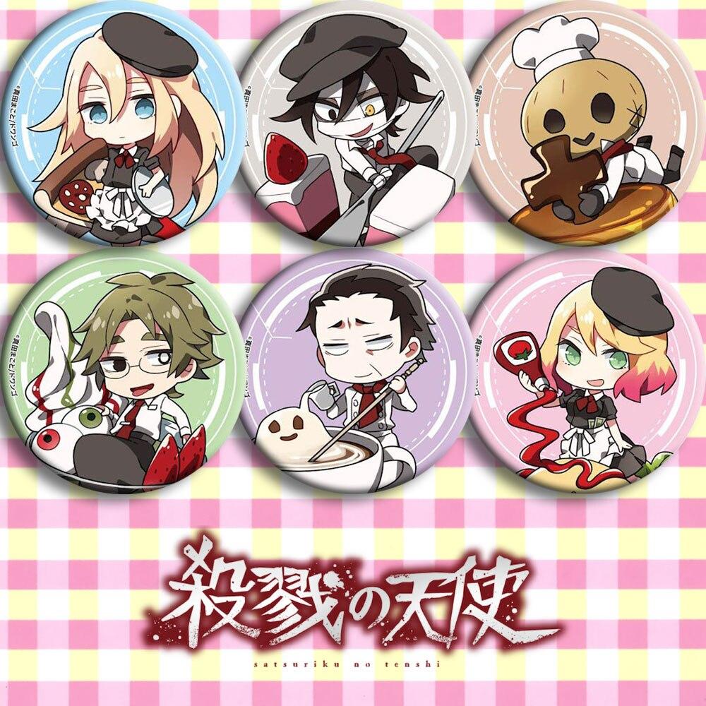 Japão Anime Anjos da Morte Cosplay Dos Desenhos Animados Crachá Broche Pinos Botão presentes Coleção Emblemas Sacos Para Mochilas