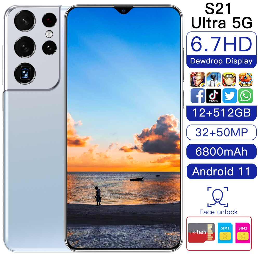 New Arrival Galxy S21+Ultra 6.7 Inch 11 Core 5G Network Cell Phone 12GB 256/512GB 24MP+48MP Andriod 11 Smart Phone MTK6889