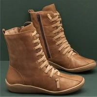 womens autumn retro zipper lace up womens boots womens high top shoes womens fashion shoes
