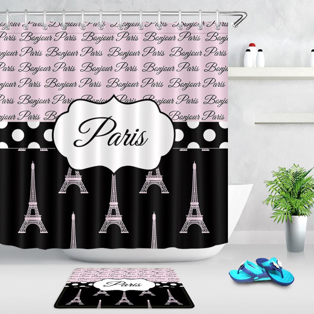 Rideau de douche de salle de bain avec crochets   Ensemble de rideaux de bain en tissu Polyester imperméables, tapis de porte antidérapant tour Eiffel de Paris