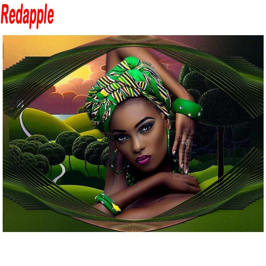 5D DIY pintura de diamante completo cuadrado/taladro redondo moda mujer africana bordado belleza paisaje punto de cruz decoración del hogar nuevo