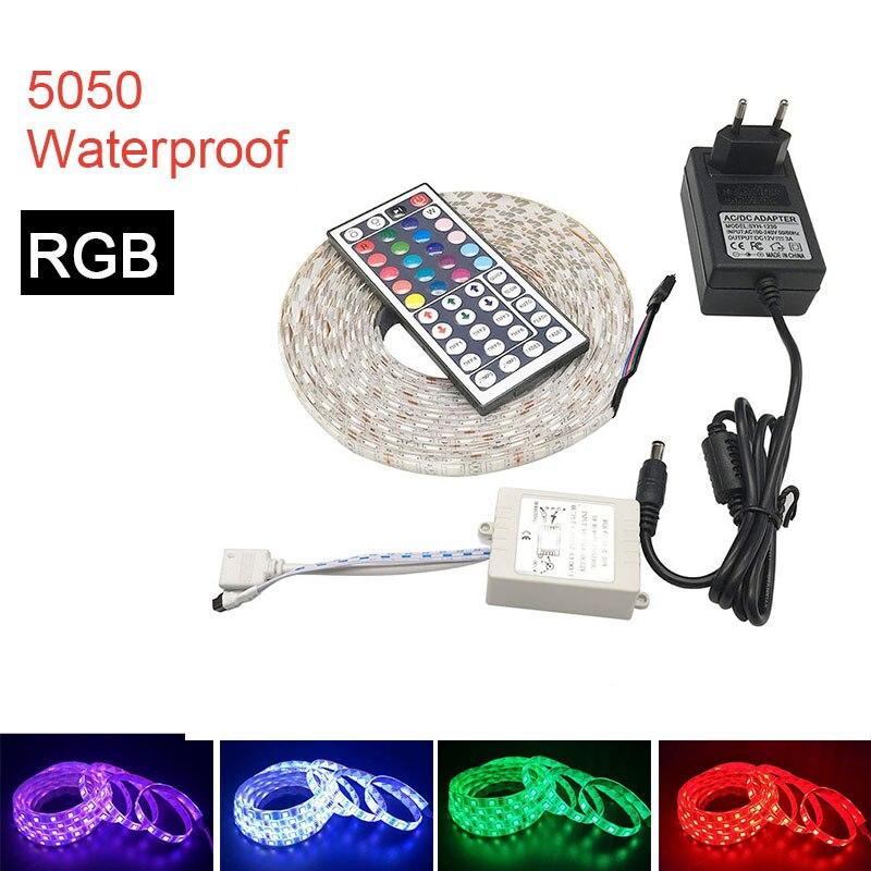Tira de luz LED SMD 5050 DC12V 60 LEDs/m 5 m/rollo de luz LED Flexible RGB 5050 tira de LED impermeable o no impermeable cinta Fita