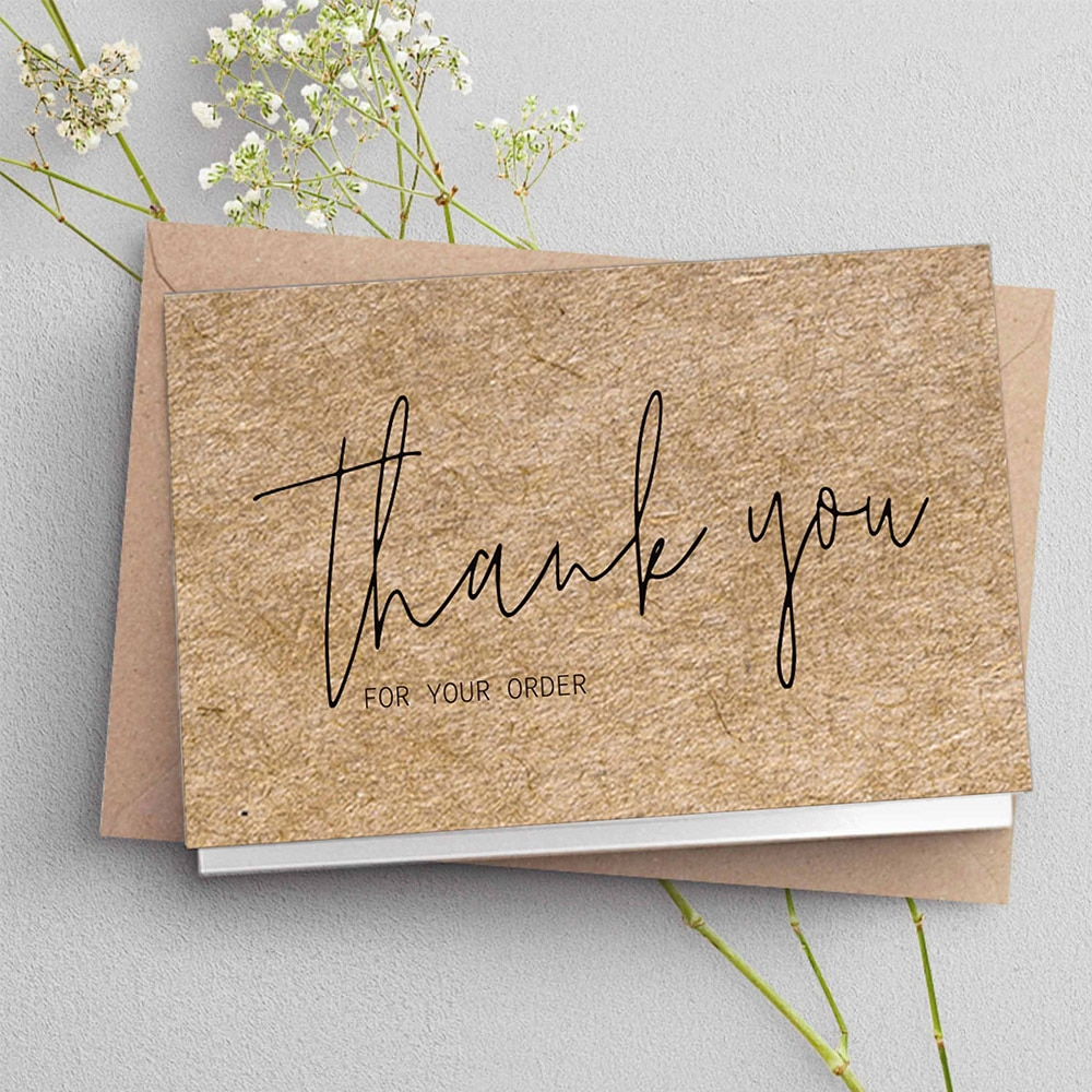 30 Natural Kraft Paper Cards Thank You For Your Order Card For Small Shop Gift Decoration Card For Small Business