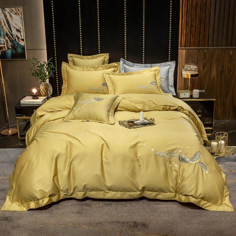2020 novo amarelo jogo de cama rainha tamanho king size folha luxo egypian algodão bordado folha cama capa edredão conjunto