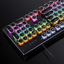 Le plus nouveau clavier mécanique câblé 104 touches commutateur automatique arbre Punk clavier LED rétro-éclairage clavier de jeu dordinateur professionnel