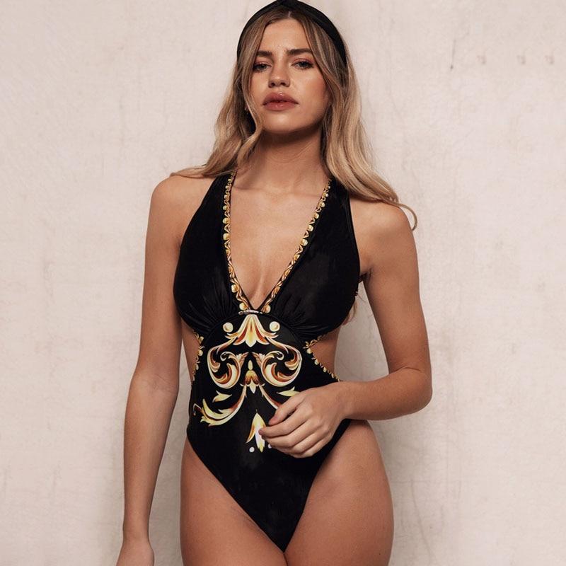 Sexy one piece bikini swimsuit womens 2020 Summer Fashion cotton blend prints Splicing elastic one piece bikini ladies swimwear