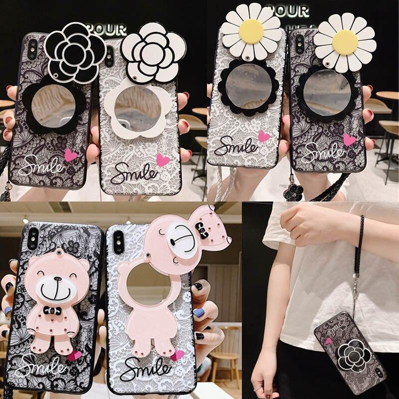 Funda de teléfono de espejo de maquillaje de flores de encaje para Samsung Galaxy A70 A80 A90 A50 A40 A30 A20 M10 M20 M30 A6s A8s con cubierta trasera de cordón