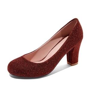 New Women Shoes Pumps Round Toe Basic High Heels 7CM Heels Big Size 34-47 Women Pupms