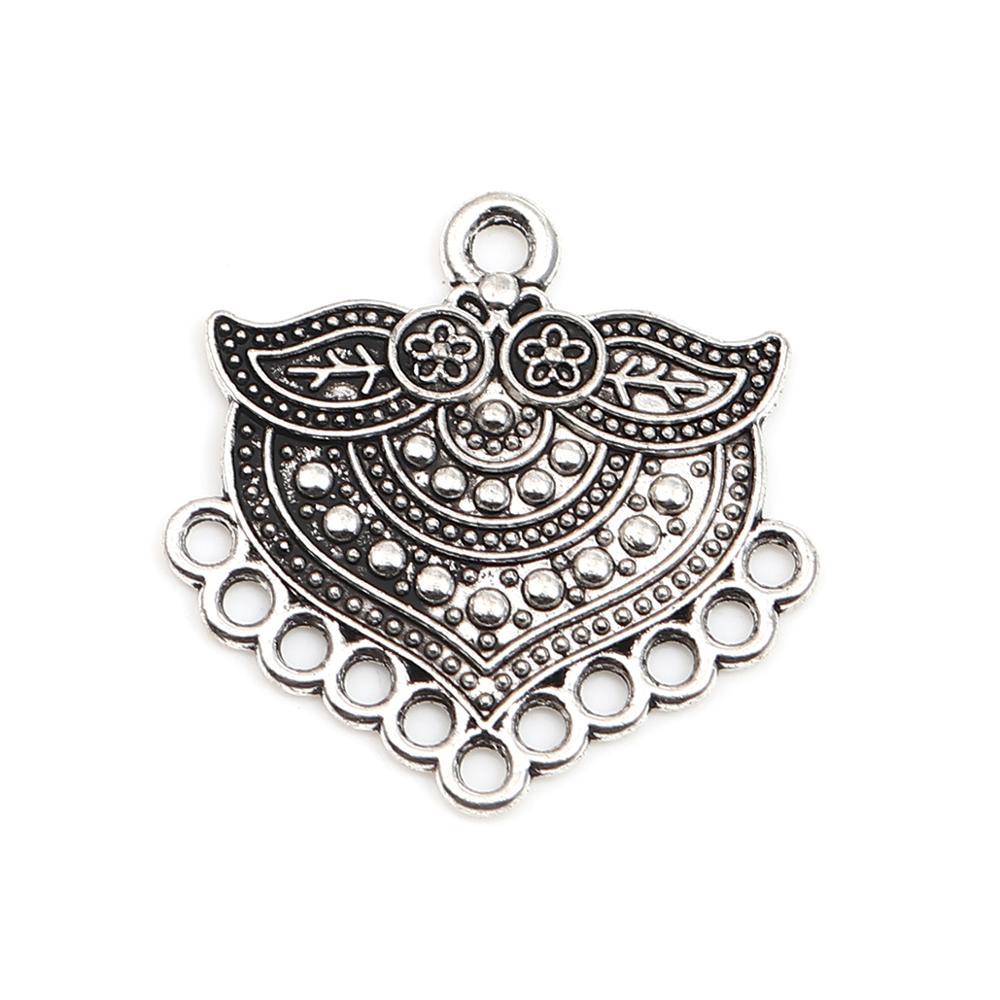 A cor de prata antiga irregular cinzelou a joia 28mm x 27mm dos encantos do teste padrão, 30 pces