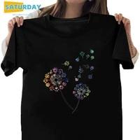 plus size women color dandelion cotton black tshirt girl short sleeve t shirt soft 90s harajuku female tshirtdrop ship