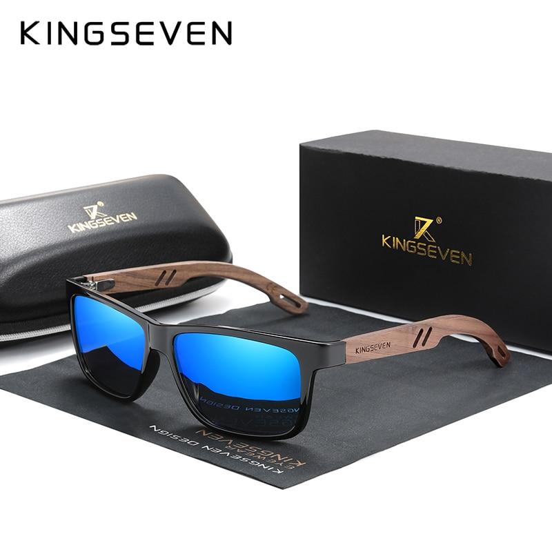 KINGSEVEN ماركة تصميم TR90 خشب الجوز اليدوية النظارات الشمسية الرجال الاستقطاب النظارات الاكسسوارات نظارات شمسية عززت المفصلي