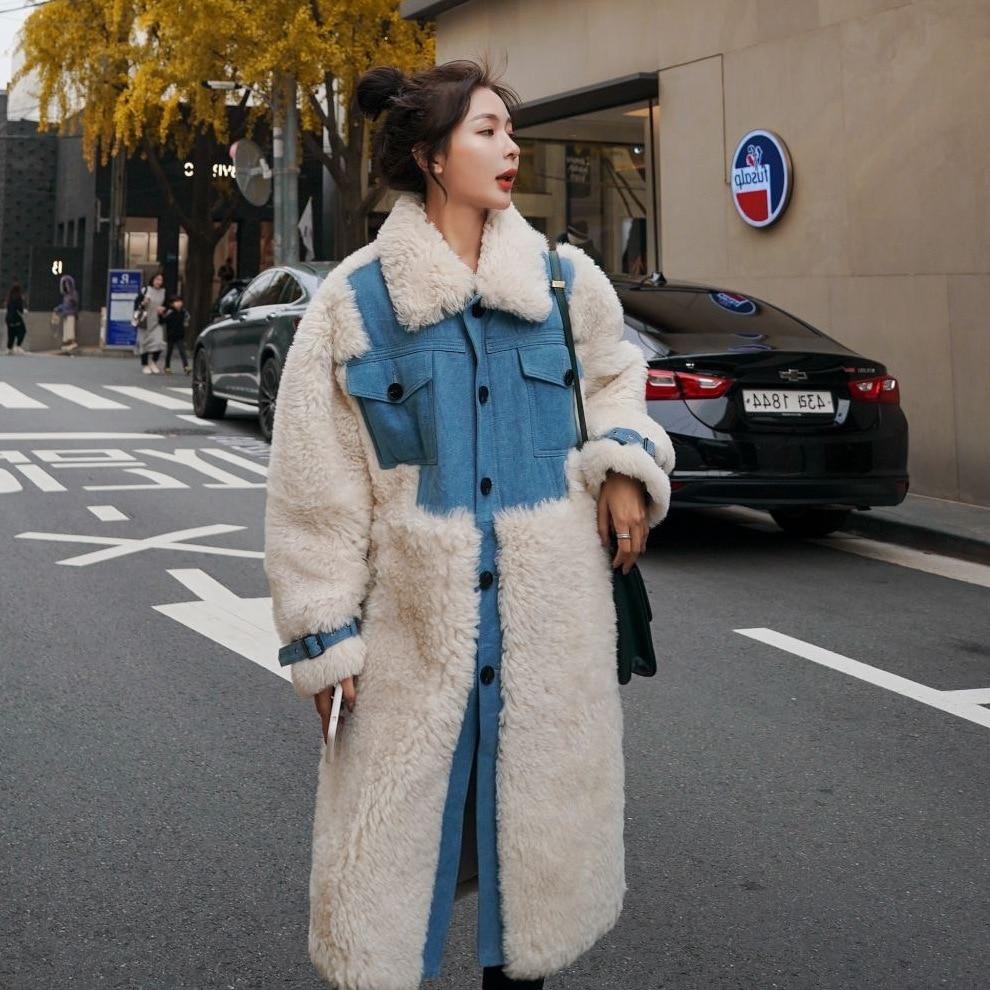 سترة نسائية الشتاء صوف الضأن الكورية تصميم الشعور الدنيم خياطة التباين اللون واحدة الصدر القطن معطف طويل سميك الإناث