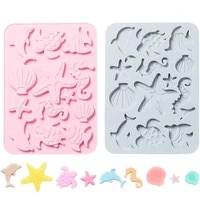 new silicone cake mold creative underwater world 3d diy handmade biscuits candy chocolate mould mousse decoration baking tools