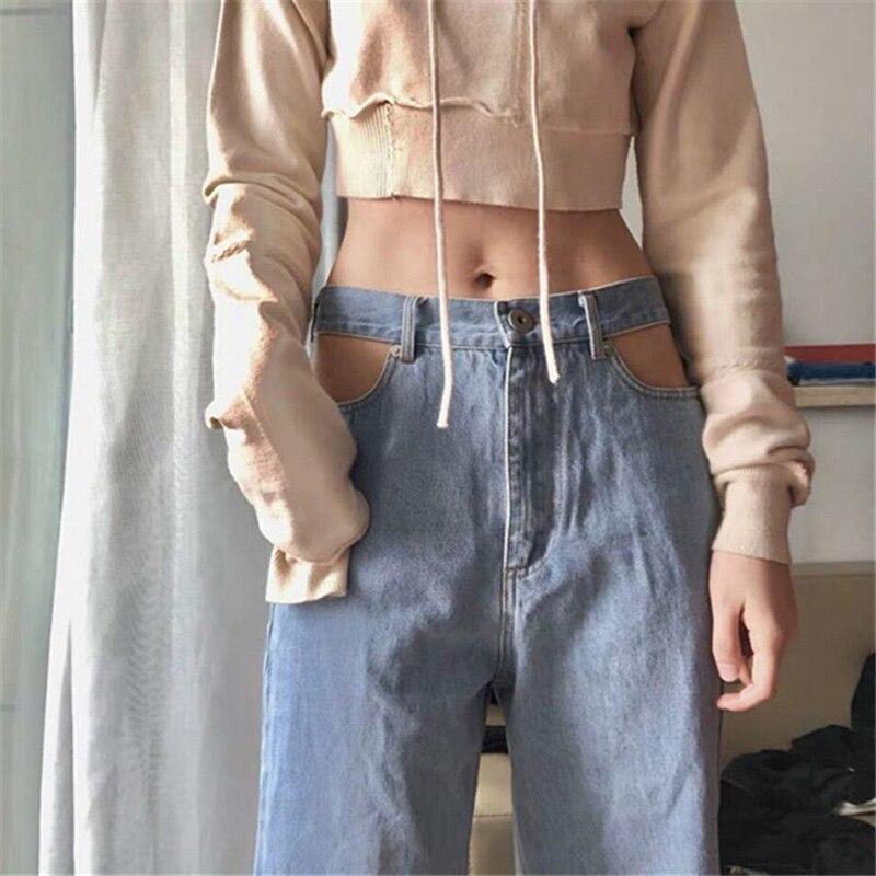 Прямые женские свободные широкие брюки с вырезами на талии, джинсы-бойфренды с высокой талией, удобные повседневные женские брюки