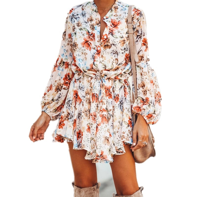 2020 nuevo primavera estampado Irregular corta de gasa Vestido casual con volantes Mini linterna Vintage manga Mini vestidos de encaje de corte Slim Vestido