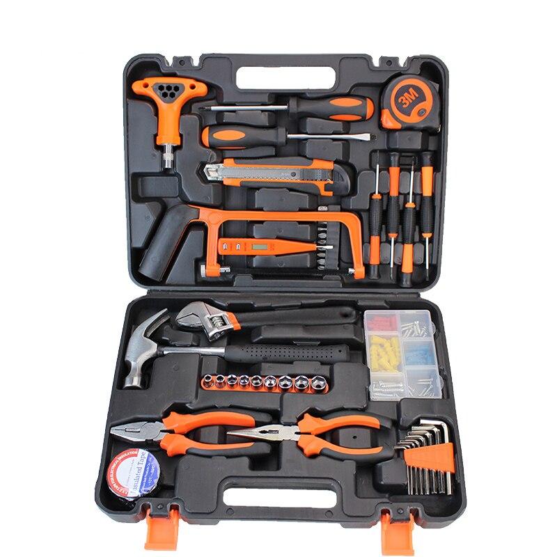 45 sztuk zestaw narzędzi ręcznych narzędzia gospodarstwa domowego zestaw herramientas de mano narzędzia do obróbki drewna nóż klucz zapadkowy Hack Saw HTS019