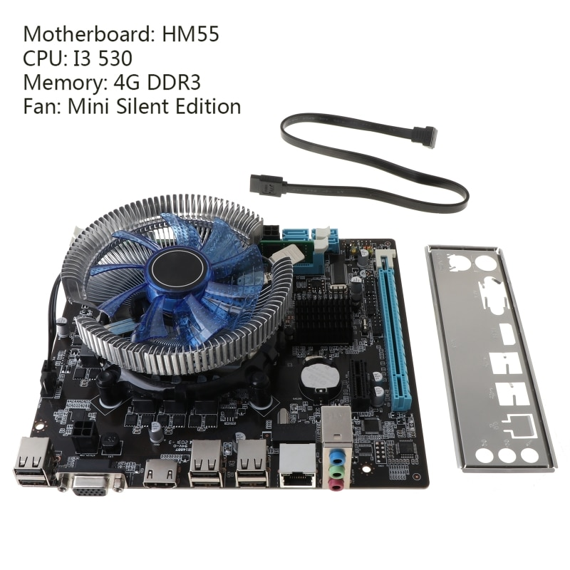 1Set HM55 لوحة أم للكمبيوتر I3 I5 Lga 1156 4G ذاكرة برودة مروحة Atx كمبيوتر مكتبي اللوحة الرئيسية لعبة تجميع الملحقات عدة