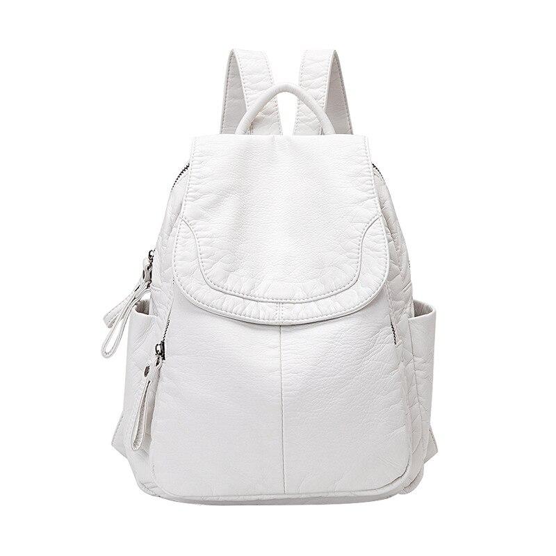 حقيبة ظهر جلدية ناعمة غير رسمية للنساء ، حقيبة مدرسية بيضاء صغيرة للمراهقات ، سفر
