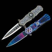Mengoing-cuchillo de hoja plegable 440C, Spinner de mano con mango de aluminio y acero, juguete, cuchillos EDC pequeños
