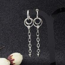 Pojedynczy stalowy łańcuch ze stali nierdzewnej długie kolczyki męskie i damskie koreańska gwiazda inspirowane gwiazdami Normcore Style metalowe kolczyki hurt