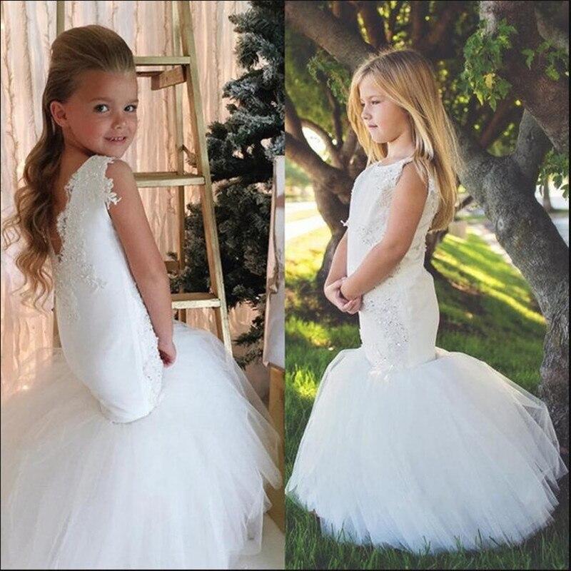Vestido de Sereia Branco para Meninas Vestidos para Festa de Casamento e Trompete
