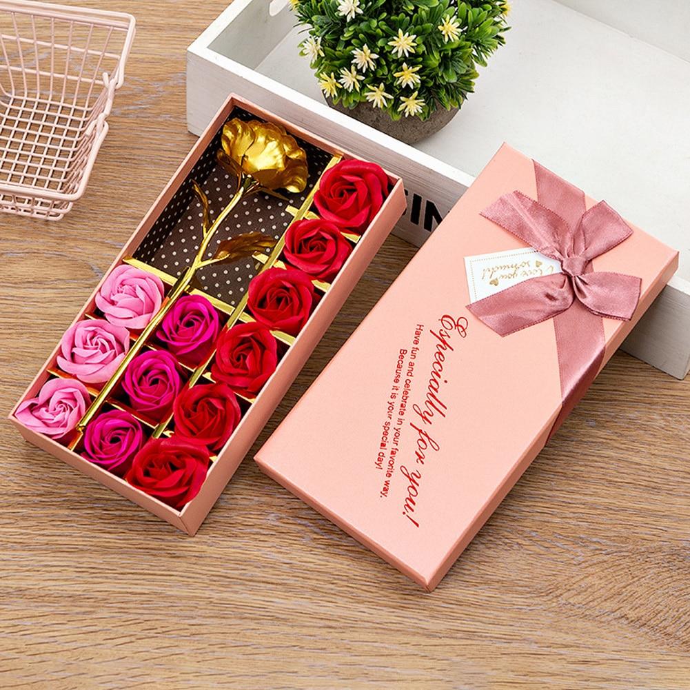 Caja de regalo Flor de jabón romántico amor fragante rosa de boda Artificial con caja regalo fiesta de San Valentín novia Decoración