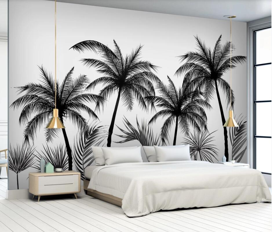 AINYOOUSEM, bosquejo blanco y negro, árbol Para coco, mural de fondo, papel tapiz de papel de pared, papel tapiz 3d, pegatinas para papel tapiz
