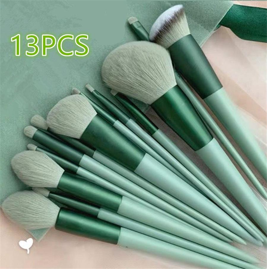 8/13PCS Makeup Brushes Pro Green Brush Set Powder Eyeshadow Blending Eyeliner Eyelash Eyebrow Make U