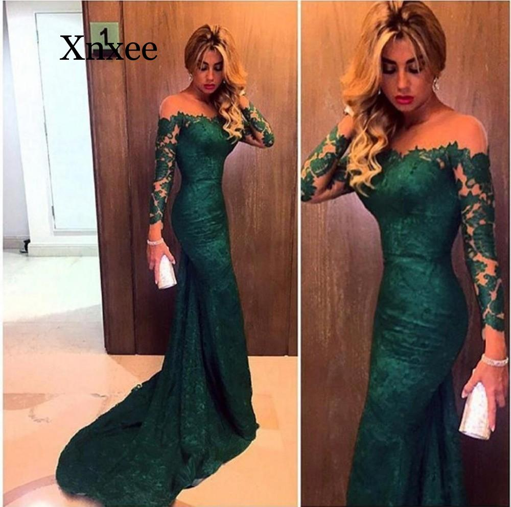 Emerald Green Mermaid Lace Evening party  Dresses 2020 Robe De Soiree Long Sleeved Formal Women Dress Party Gowns green wedding